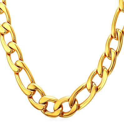 cheap Men's Jewelry-Men's Chain Necklace Necklace Figaro Mariner Chain Simple Fashion 18K Gold Plated Titanium Steel Black Gold Silver 55 cm Necklace Jewelry 1pc For Gift Daily Graduation School