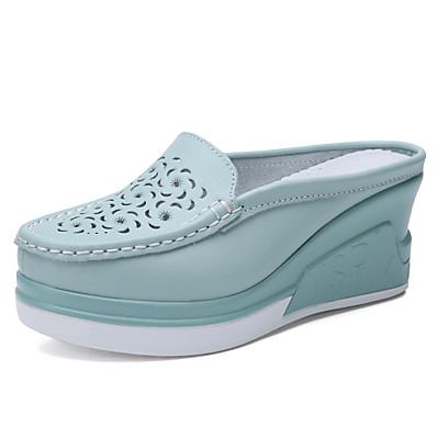 cheap Sneakers-Women's Cowhide Spring &  Fall / Summer Casual / Minimalism Clogs & Mules Walking Shoes / Swing Shoes Wedge Heel Round Toe Black / Beige / Blue