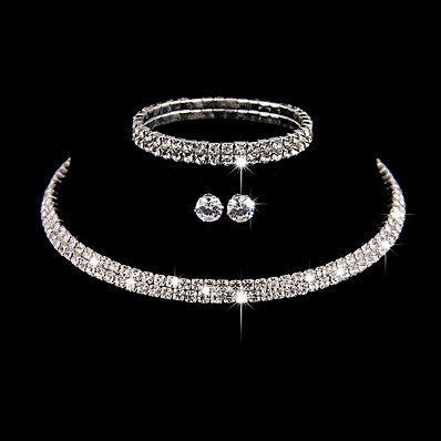 cheap Accessories-Women's Necklace Earrings Bracelet Tennis Chain Elegant Fashion European Iced Out Earrings Jewelry Silver For Wedding Evening Party Prom 1 set