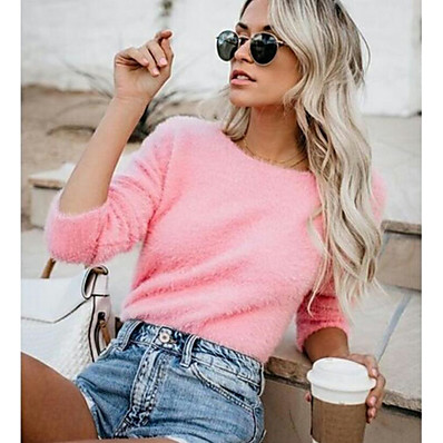cheap Knit Tops-Women's Solid Colored Long Sleeve Pullover Sweater Jumper, Round Neck Fall / Winter Yellow / Blushing Pink / Army Green S / M / L