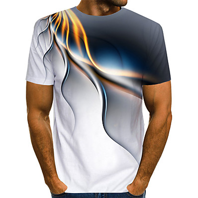 cheap Men's Tops-Men's Street Club Street chic / Exaggerated EU / US Size T-shirt - Color Block / 3D / Graphic Print Round Neck White / Short Sleeve