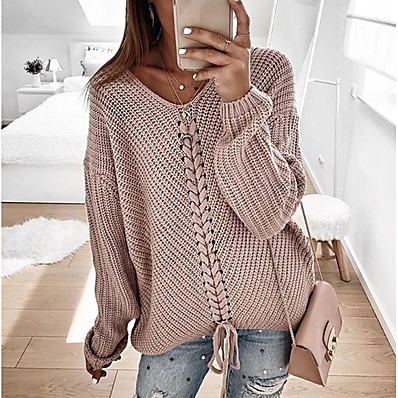 cheap Knit Tops-Women's Casual Knitted Solid Colored Long Sleeve Pullover Sweater Jumper, V Neck Spring / Fall Blushing Pink / Red / Navy Blue S / M / L