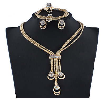 cheap Accessories-Women's Silver Gold Bridal Jewelry Sets Link / Chain Pear Vintage Earrings Jewelry Gold / Silver For Wedding Gift Engagement 1 set