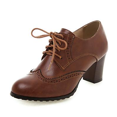 abordables Sneakers-Femme Oxfords Chaussures Bullock Block Heel Rétro Vintage Quotidien Polyuréthane Couleur Pleine Brun Foncé Noir Vert