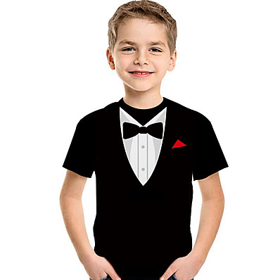 cheap Kids-Kids Toddler Boys' T shirt Tee Short Sleeve Print Geometric 3D Print Black Children Tops Summer Active Basic