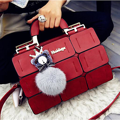 cheap ACCESSORIES-Women's Bags PU Leather Satchel Top Handle Bag Zipper Solid Color Handbags Daily Black Purple Red Gray