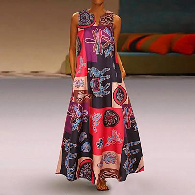 cheap Dresses-Women's Plus Size Maxi Loose Swing Dress - Geometric Deep V Orange Red S M L XL