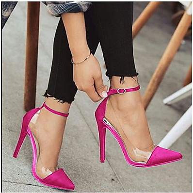 cheap Pumps & Heels-Women's Sandals Clear / Transparent / PVC Stiletto Heel Closed Toe Daily Buckle Solid Colored PU Booties / Ankle Boots Summer Black / Fuchsia / Gold