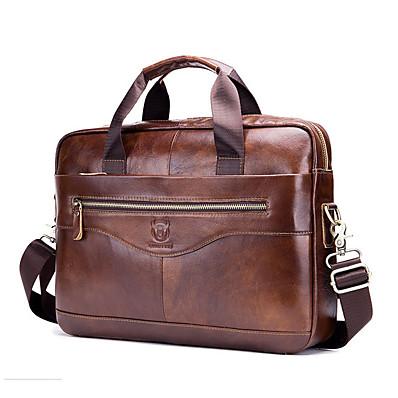 cheap Men's Bags-(BULLCAPTAIN) Men'S Leather One Shoulder Messenger Bag Multi Function Zipper Portable Briefcase