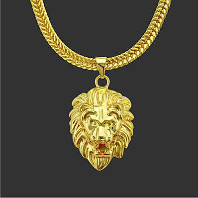 cheap Men's Jewelry-Men's Pendant Necklace Chain Necklace Classic Lion Punk Rock Copper Gold Plated Gold 76 cm Necklace Jewelry 1pc For Daily Street / Long Necklace