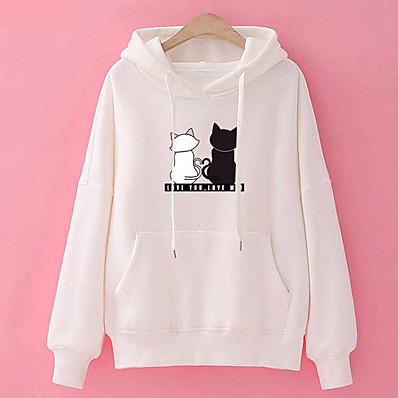 cheap Hoodies & Sweatshirts-Women Fashion Loose Hooded Pullover Casual Long Sleeve Shirt Sweatshirt Hoodies Top