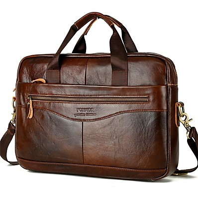 cheap Men's Bags-Men's Zipper Nappa Leather / Cowhide Briefcase Solid Color Dark Brown / Fall & Winter
