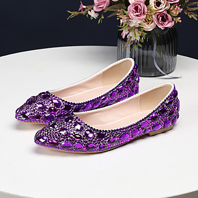 cheap Flats-Women's Wedding Shoes Flat Heel Pointed Toe Crystal / Sparkling Glitter PU(Polyurethane) Vintage / Sweet Spring &  Fall / Spring & Summer Green / Purple / Red / Party & Evening