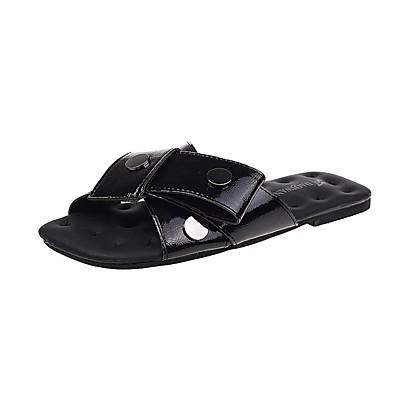 cheap Slippers-Women's Slippers & Flip-Flops Flat Heel Rivet PU Casual Spring Black / Silver / Red