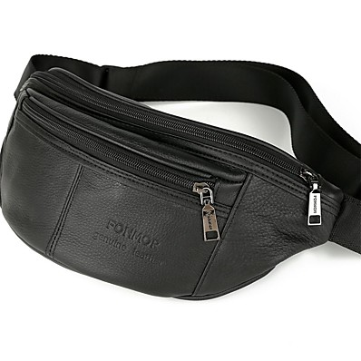 cheap Men's Bags-Men's Zipper Nappa Leather / Cowhide Fanny Pack Solid Color Black / Fall & Winter