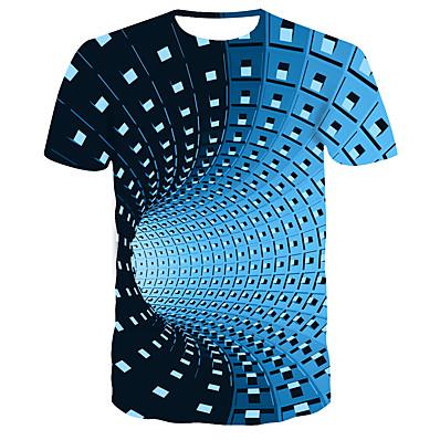 cheap Men's Tops-Men's Daily Wear Bar Street chic / Punk & Gothic T-shirt - Striped / Color Block Print Round Neck Blue / Short Sleeve
