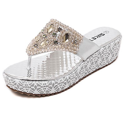 cheap Slippers-Women's Slippers & Flip-Flops Wedge Heel Round Toe Rhinestone PU Summer Gold / Silver