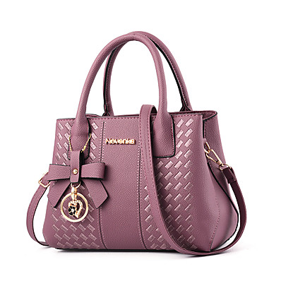 cheap Bags-Women's Bags PU Leather Polyester Zipper Geometric Pattern Solid Color Daily Outdoor Leather Bags Handbags Black Red Blushing Pink Light Purple