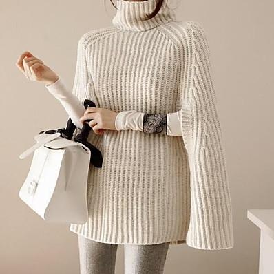 cheap Knit Tops-Women's Solid Colored Long Sleeve Loose Pullover Sweater Jumper, Turtleneck Black / White / Gray One-Size