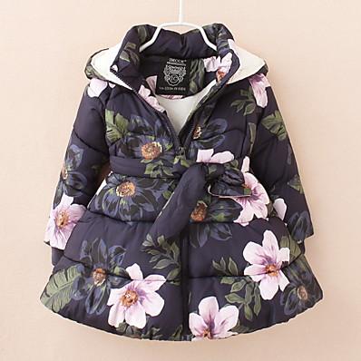 cheap Kids-Toddler Girls' Down & Cotton Padded Blue Beige Print Floral Basic