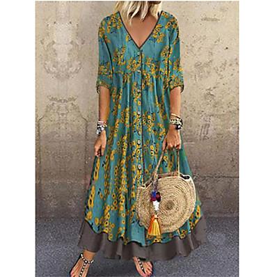 cheap Dresses-Women's Elegant Maxi A Line Dress - Floral Sequins Print Deep V Red Green Gray M L XL XXL