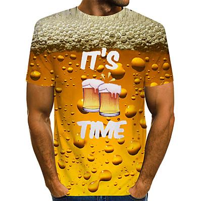 cheap Men's Tops-Men's Daily Basic T-shirt - Plain Round Neck Yellow / Short Sleeve