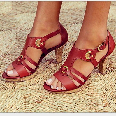 cheap SHOES-Women's Sandals Heel Sandals Summer Cuban Heel Round Toe Vintage British Boho Daily Buckle Solid Colored PU Black / Red / Green