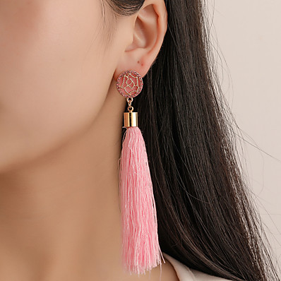 cheap Women's Jewelry-Women's Earrings Tassel Fringe Flower Earrings Jewelry Black / White / Purple For Carnival Street Promise Festival 1 Pair