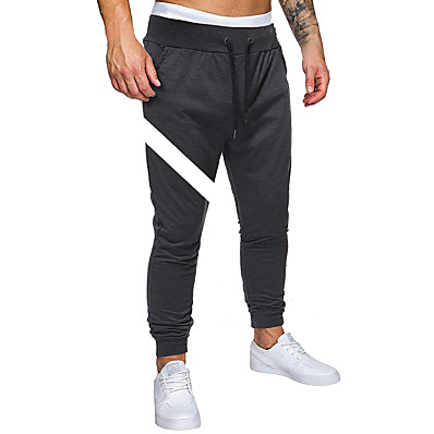 cheap Men's Bottoms-Men's Sporty / Basic EU / US Size Chinos / Sweatpants Pants - Print Sporty Black Dark Gray Light gray US36 / UK36 / EU44 US38 / UK38 / EU46 US40 / UK40 / EU48 / Drawstring / Elasticity