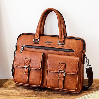 cheap Men's Bags-Men's Zipper PU Briefcase Solid Color Black / Brown / Dark Brown