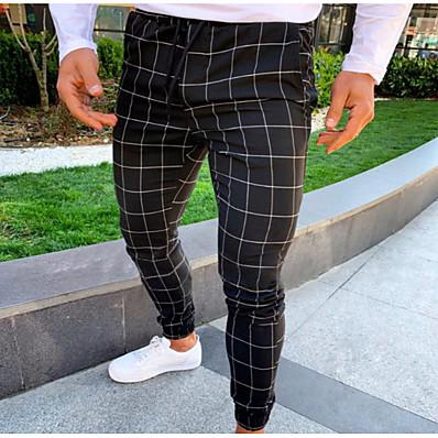 cheap Men's Bottoms-Men's Basic Slim Chinos Pants - Plaid / Checkered Dark Gray Navy Blue Light gray US40 / UK40 / EU48 US42 / UK42 / EU50 US44 / UK44 / EU52