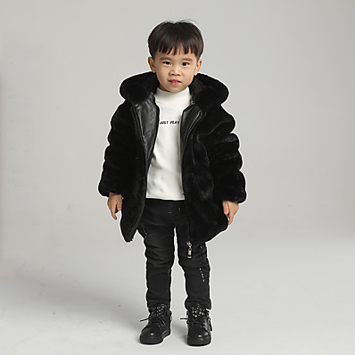 cheap KIDS-Kids Boys' Basic Solid Colored Regular Faux Fur Jacket & Coat Black