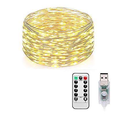 cheap LED String Lights-Fairy Lights Plug in 8 Modes 10M 100 LED USB String Lights with Adapter Remote Timer Waterproof Decorative Lights for Bedroom Patio Christmas Wedding Party Dorm Indoor Outdoor