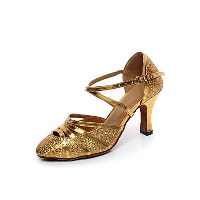 cheap Pumps & Heels-Women's Modern Shoes Heel Flared Heel Synthetics Buckle Yellow / Silver / Performance / Practice