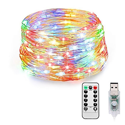 cheap LED String Lights-Fairy Lights Plug in 8 Modes 20M 200 LED USB String Lights with Adapter Remote Timer Waterproof Decorative Lights for Bedroom Patio Christmas Wedding Party Dorm Indoor Outdoor