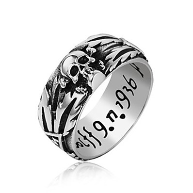 cheap Men's Jewelry-Band Ring Black Silver Titanium Steel Skull Letter Basic Vintage Fashion 1pc 7 8 9 10 11 / Men's