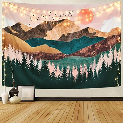 cheap Wall Art-Wall Tapestry Art Decor Blanket Curtain Picnic Tablecloth Hanging Home Bedroom Living Room Dorm Decoration Mountain Forest Tree Sunset Sunrise Nature Landscape