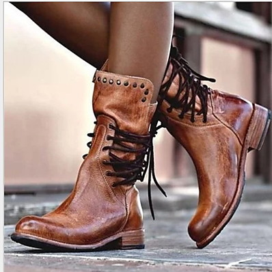 cheap SHOES-Women's Boots Comfort Shoes Flat Heel Round Toe PU Mid-Calf Boots Fall & Winter Black / Brown / Gray