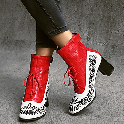 cheap Boots-Women's Boots Print Shoes Block Heel Round Toe PU Booties / Ankle Boots Vintage / Chinoiserie Fall & Winter Red / Blue / Black