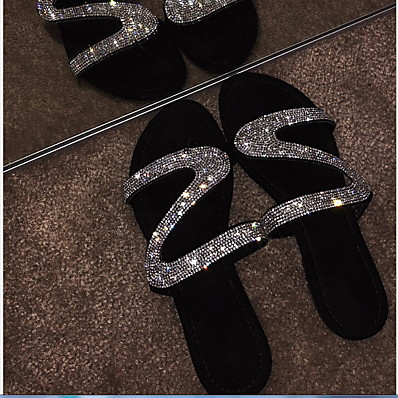 cheap Sandals-Women's Sandals Glitter Crystal Sequined Jeweled Flat Heel Round Toe Rhinestone PU Summer Black