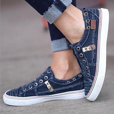 cheap Flats-Women's Sneakers Flat Heel Round Toe Canvas Summer White / Purple / Blue