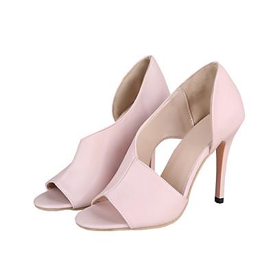 cheap Pumps & Heels-Women's Heels 2020 Stiletto Heel Open Toe PU British / Minimalism Spring & Summer Pink / White / Black / Party & Evening