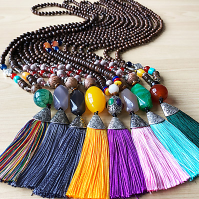 cheap Women's Jewelry-Women's Pendant Necklace Statement Necklace Beads Totem Series U Shape Simple Classic European Trendy Cord Copper Wood Black Yellow Red Light Green Burgundy 76-80 cm Necklace Jewelry 1pc For
