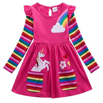 cheap KIDS-Kids Girls' Active Casual Unicorn Floral Stripe Rainbow Animal Print Long Sleeve Above Knee Cotton Dress Blue