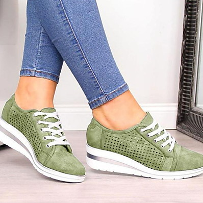 cheap Sneakers-Women's Sneakers Summer Flat Heel Round Toe Daily Solid Colored PU Black / Pink / Green