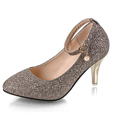 cheap Pumps & Heels-Women's Heels Glitter Crystal Sequined Jeweled Plus Size Stiletto Heel Pointed Toe Daily PU Synthetics Black Purple Fuchsia / 2-3