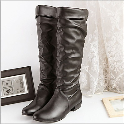 cheap Boots-Women's Boots Knee High Boots Flat Heel Round Toe Knee High Boots Classic Daily PU Solid Colored White Black Brown
