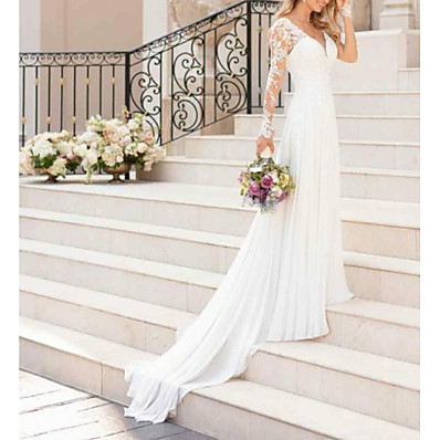 cheap Wedding Dresses-A-Line V Neck Sweep / Brush Train Chiffon / Lace Long Sleeve Romantic Illusion Detail Made-To-Measure Wedding Dresses with Lace Insert 2020