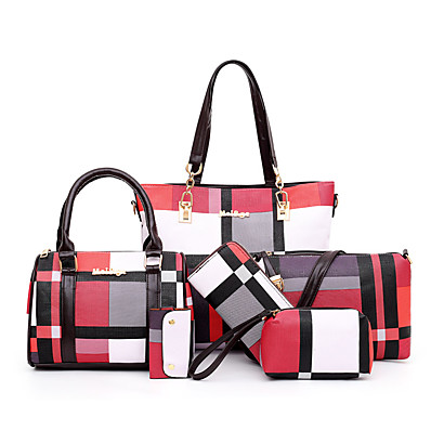 cheap Accessories-Women's Bags Bag Set PU Leather Zipper 6 Pieces Purse Set Daily Outdoor Lattice Solid Color Bag Sets Handbags Black Blue Red Green