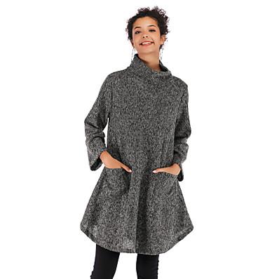 cheap Hoodies & Sweatshirts-Women's Basic / Street chic Sweatshirt - Solid Colored Brown M